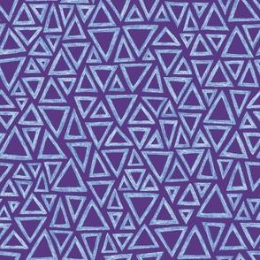 batik triangles - light blue on purple