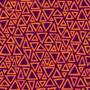 batik triangles - karmic orange on purple