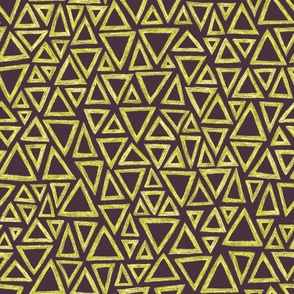 batik triangles - midsummer gold on mauve
