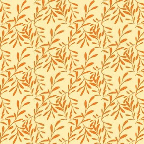 A Drift of Pumpkin Orange Leaves on Iced Apricot - Small Scale