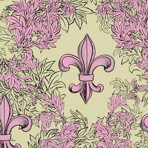 Pink Acanthus Fleur de Lis on Cream Background with black line