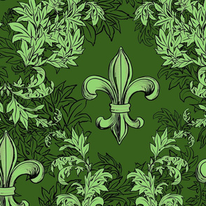 Light Green Acanthus Fleur de Lis on Green Background with black line