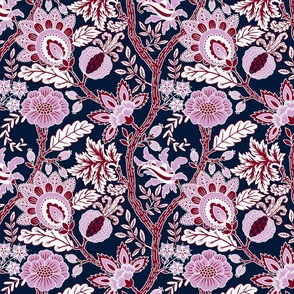 Large Indienne in Navy Blue and Orchid