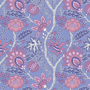 Large Pink and powder blue Indienne