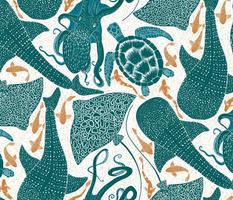 Whale shark_ Eagle ray_ Sea turtle_ Octopus_ fish aqua and golden orange