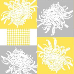 Chrysanthemum-Checker Pattern-Grey Yellow Color Palette