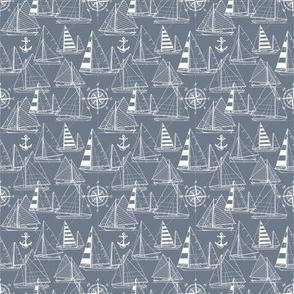 Sailboats / Blue Grey White / Mini Scale