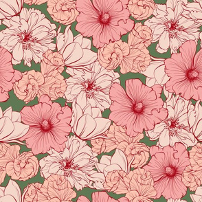 Roses and Poppies Seamless Pattern