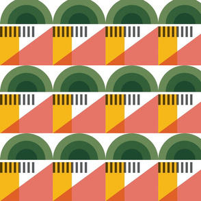 Geometric landscape city green coral and yellow