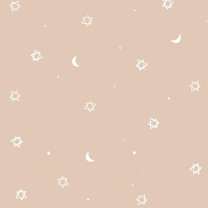 Fall sketchy stars moon and speckles - warm beige