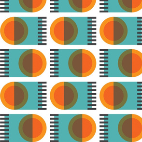 Geometric abstract forest in orange and turquoise