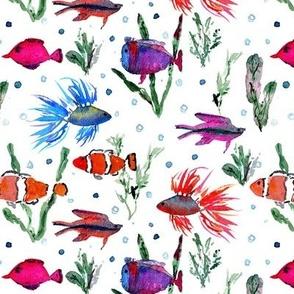 Maldives underwater life - watercolor ocean fish - summer sea marine vibes a351-1