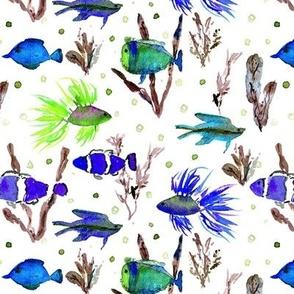 Maldives underwater life - watercolor ocean fish - summer sea marine vibes a351-5