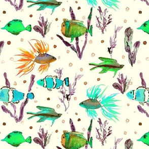 Sunny Maldives underwater life - watercolor ocean fish - summer sea marine vibes a351-8