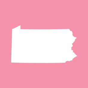Pennsylvania silhouette, 18x21 panel, white on pink
