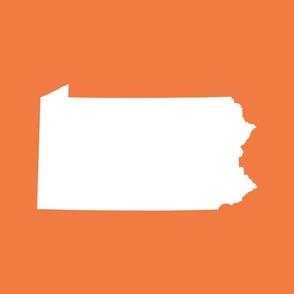 Pennsylvania silhouette, 18x21 panel, white on orange
