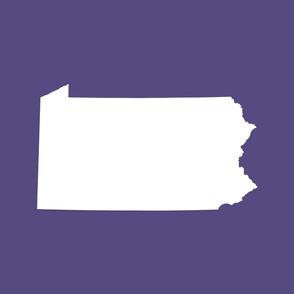 Pennsylvania silhouette,  18x21 panel, white on purple