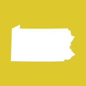 Pennsylvania silhouette,  18x21 panel, white on yellow