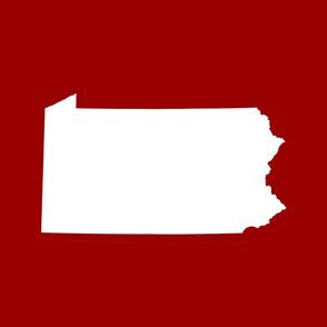 Pennsylvania silhouette,  18x21 panel, white on football red