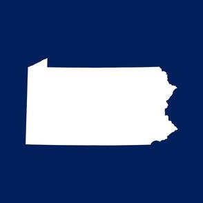 Pennsylvania silhouette,  18x21 panel, white on football blue