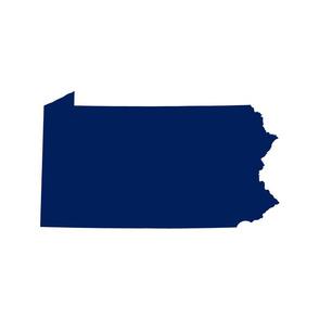 Pennsylvania silhouette,  18x21 panel, football blue on white