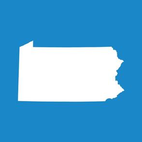 Pennsylvania silhouette,  18x21 panel, white on bright cyan blue