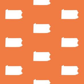 """Pennsylvania silhouette,  6"""" square, white on orange"""