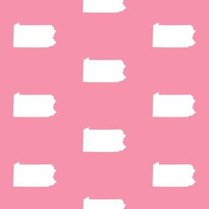 "Pennsylvania silhouette,  6"" square, white on pink"