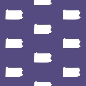 "Pennsylvania silhouette,  6"" square, white on purple"