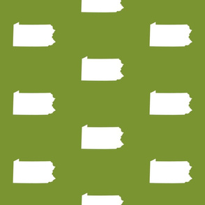 "Pennsylvania silhouette,  6"" square, white on moss green"