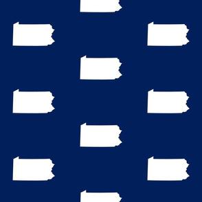 """Pennsylvania silhouette,  6"""" square, white on football navy"""