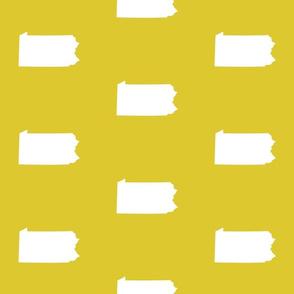 """Pennsylvania silhouette,  6"""" square, white on yellow"""