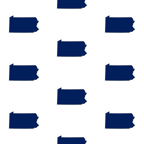 "Pennsylvania silhouette,  6"" square, football navy blue on white"