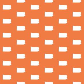 """Pennsylvania silhouette,  3"""" square, white on orange"""