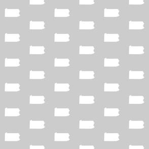 """Pennsylvania silhouette,  3"""" square, white on silver grey"""