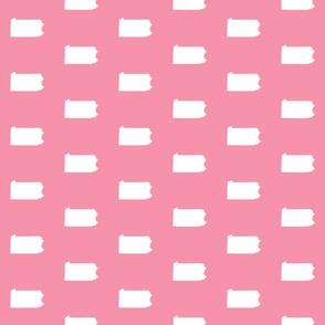 "Pennsylvania silhouette,  3"" square, white on pink"