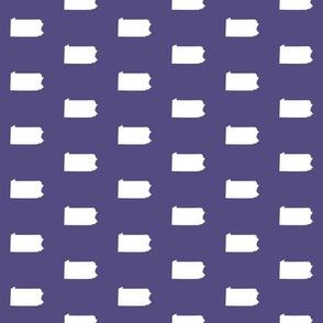 "Pennsylvania silhouette,  3"" square, white on purple"
