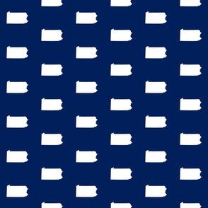 """Pennsylvania silhouette,  3"""" square, white on navy blue"""