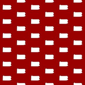 "Pennsylvania silhouette,  3"" square, white on football crimson red"