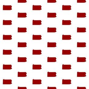 "Pennsylvania silhouette,  3"" square, football crimson red on white"
