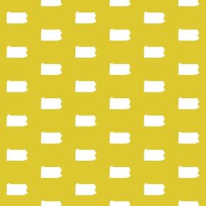 """Pennsylvania silhouette,  3"""" square, white on yellow"""