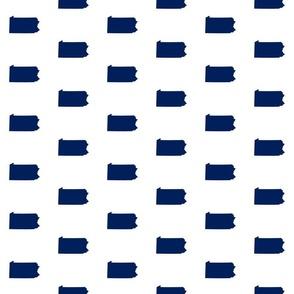 "Pennsylvania silhouette,  3"" square, football navy blue on white"