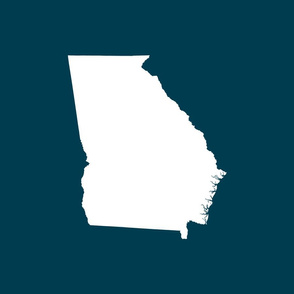 "Georgia silhouette in 18"" square - white on navy blue"