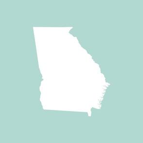 "Georgia silhouette in 18"" square - white on mint green"