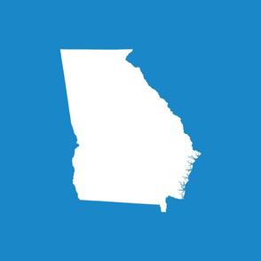 "Georgia silhouette in 18"" square - white on bright cyan blue"