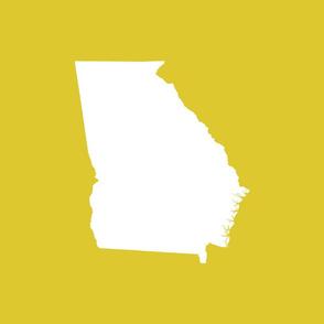 "Georgia silhouette in 18"" square - white on yellow"