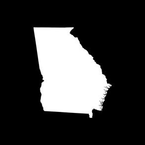 """Georgia silhouette in 18"""" square - white on black"""