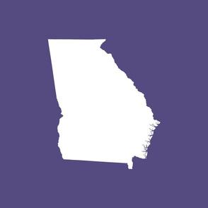 """Georgia silhouette in 18"""" square - white on purple"""