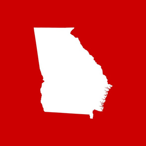 """Georgia silhouette in 18"""" square - white on football red"""