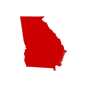 """Georgia silhouette in 18"""" square - football red on white"""